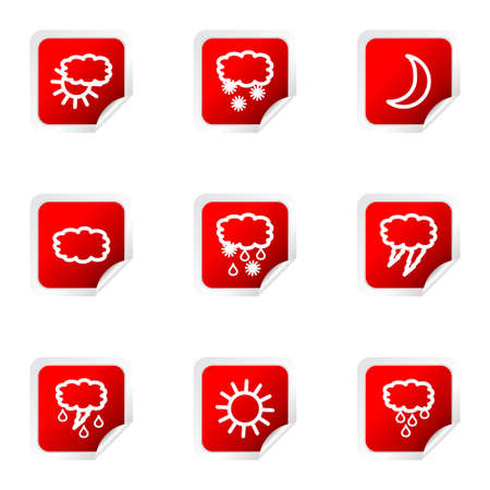 Set of 9 glossy web icons (set 4). Red square with corner.