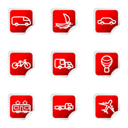 Set of 9 glossy web icons (set 5). Red square with corner. Stock Vector - 16710709