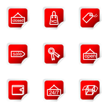 Set of 9 glossy web icons (set 9). Red square with corner. Illustration