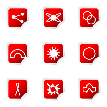 Set of 9 glossy web icons (set 10). Red square with corner. Vector