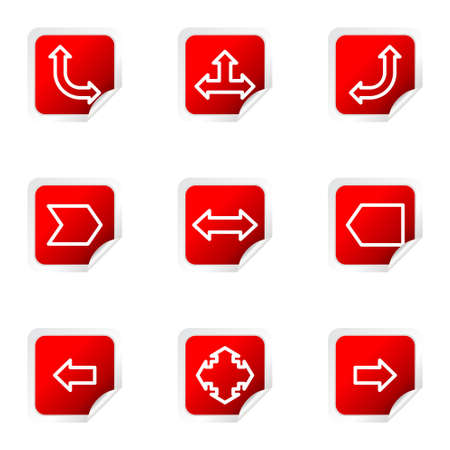 Set of 9 glossy web icons (set 12). Red square with corner.