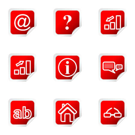 Set of 9 glossy web icons (set 13). Red square with corner. Illustration