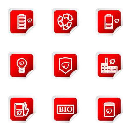 16 9: Set of 9 glossy web icons (set 16). Red square with corner.