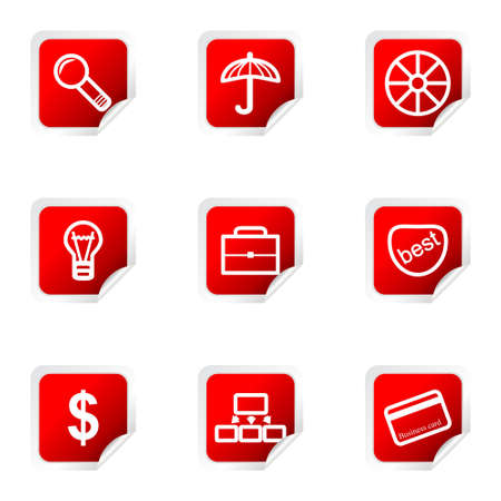 Set of 9 glossy web icons (set 24). Red square with corner. Vector