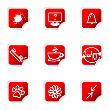 icq: Set of 9 glossy web icons (set 26). Red square with corner.