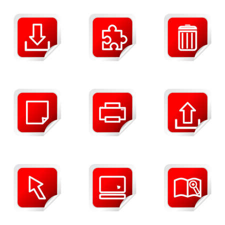 Set of 9 glossy web icons (set 28). Red square with corner. Stock Vector - 16710694