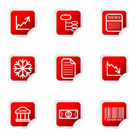 Set of 9 glossy web icons (set 29). Red square with corner.