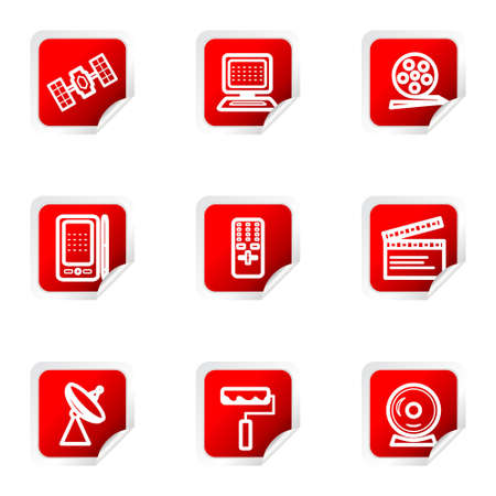 orbital spacecraft: Set of 9 glossy web icons (set 35). Red square with corner.