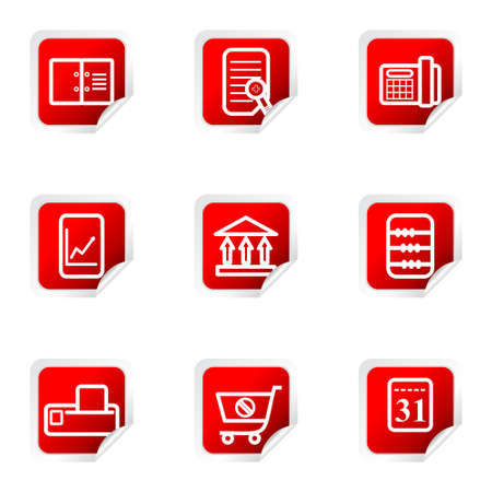 Set of 9 glossy web icons (set 36). Red square with corner.