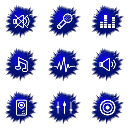 Set of 9 glossy web icons (set 15). Illustration