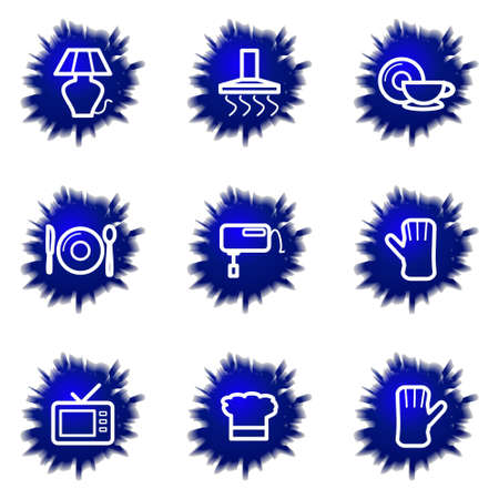 the dishes: Set of 9 glossy web icons (set 33).