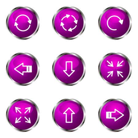 Set of 9 glossy web icons (set 2). Violet color. Illustration