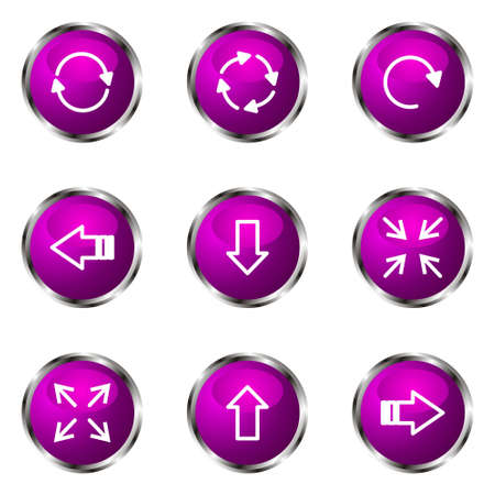 Set of 9 glossy web icons (set 2). Violet color. Stock Vector - 16710718