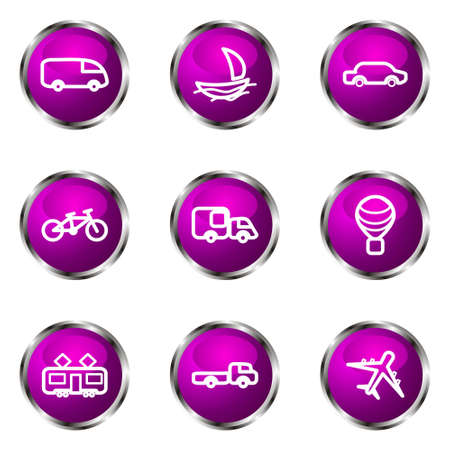 Set of 9 glossy web icons (set 5). Violet color. Stock Vector - 16710768