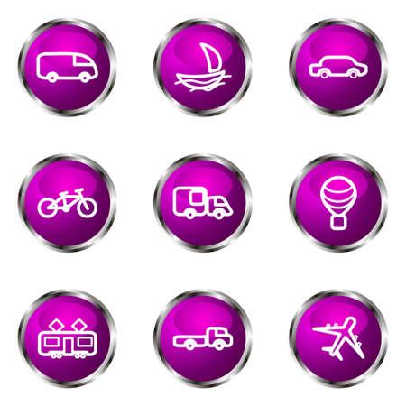 Set of 9 glossy web icons (set 5). Violet color. Illustration