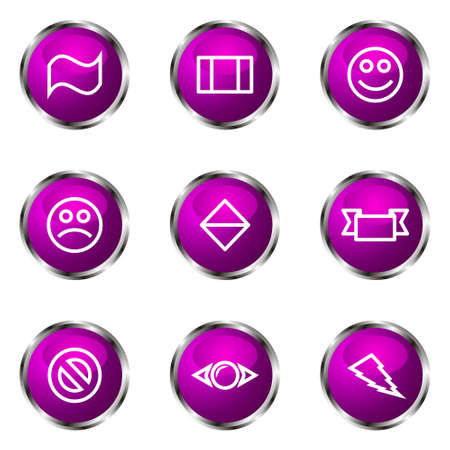 Set of 9 glossy web icons (set 8). Violet color. Vector