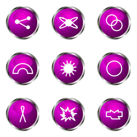 Set of 9 glossy web icons (set 10). Violet color. Stock Vector - 16710725