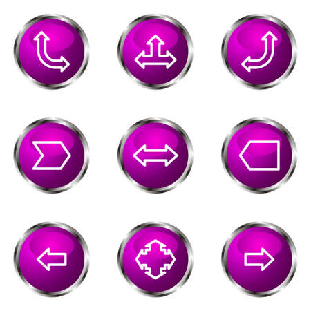Set of 9 glossy web icons (set 12). Violet color. Stock Vector - 16710701