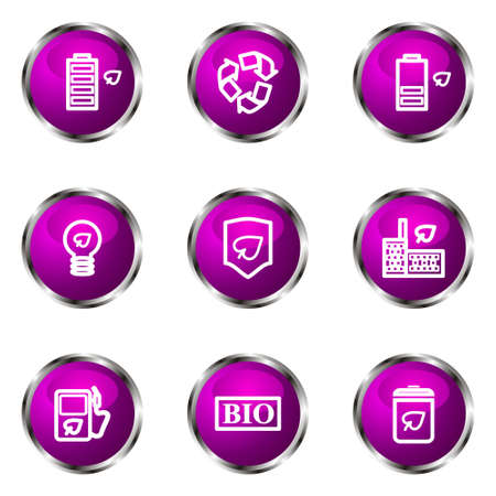 16 9: Set of 9 glossy web icons (set 16). Violet color.