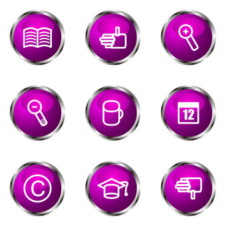 Set of 9 glossy web icons (set 20). Violet color. Stock Vector - 16710770