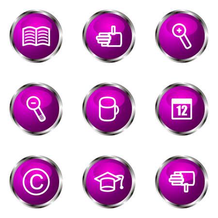 Set of 9 glossy web icons (set 20). Violet color. Illustration
