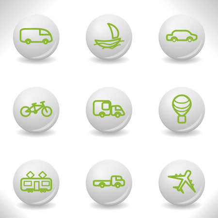 Grey balls with green icon and shadow (set 5).  Vector