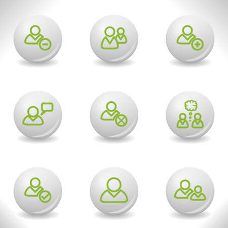 Grey balls with green icon and shadow (set 7).  Stock Vector - 16876052
