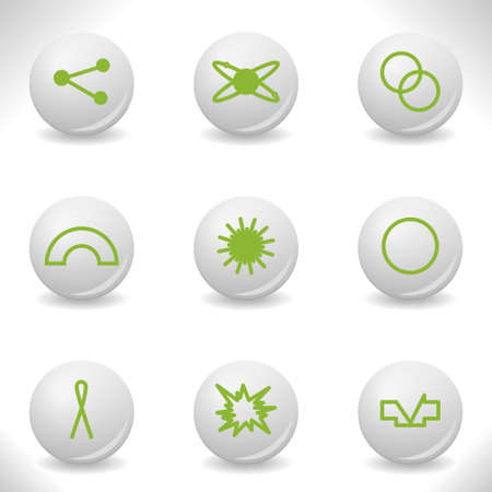 Grey balls with green icon and shadow (set 10).  Stock Vector - 16876040