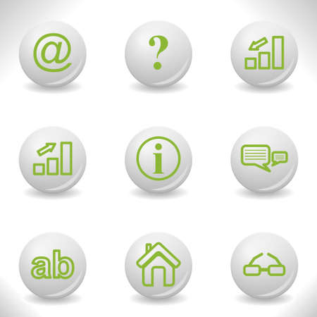 Grey balls with green icon and shadow (set 13). Vector