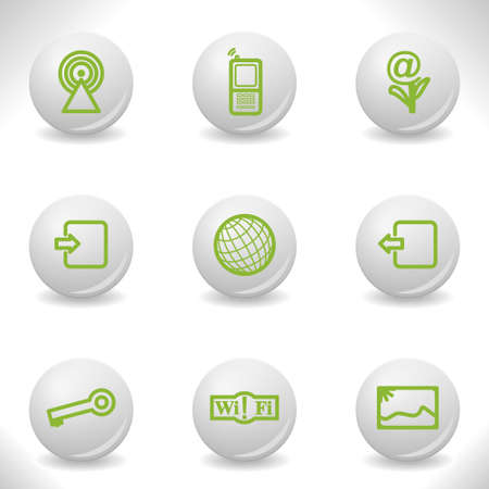 Grey balls with green icon and shadow (set 14). Stock Vector - 16876148