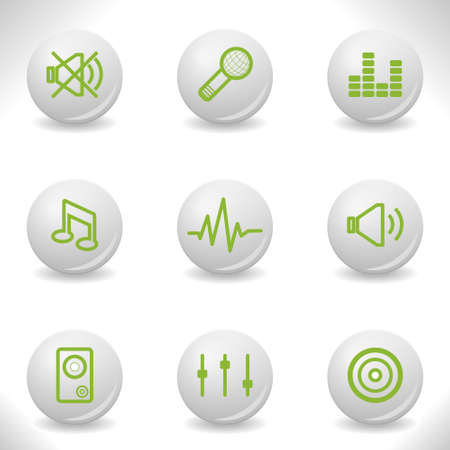Grey balls with green icon and shadow (set 15). Stock Vector - 16874415