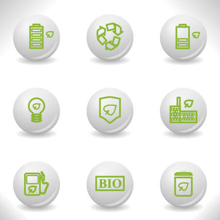 Grey balls with green icon and shadow (set 16). Stock Vector - 16876156