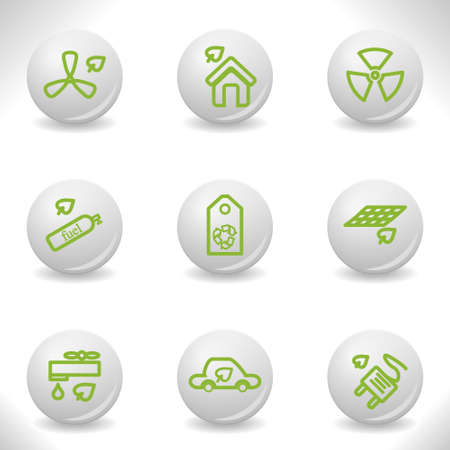 Grey balls with green icon and shadow (set 17). Stock Vector - 16876409
