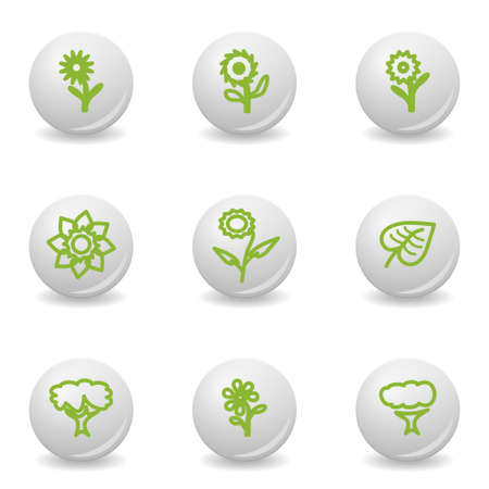 Grey balls with green icon and shadow (set 18).  Vector