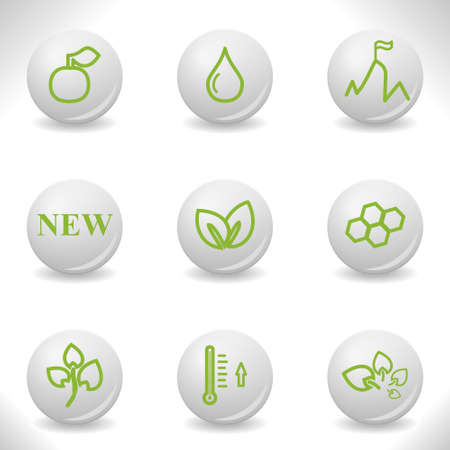 Grey balls with green icon and shadow (set 19). Vector