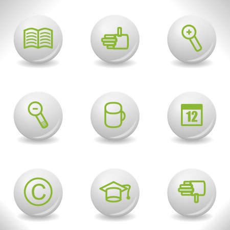 Grey balls with green icon and shadow (set 20). Stock Vector - 16876161