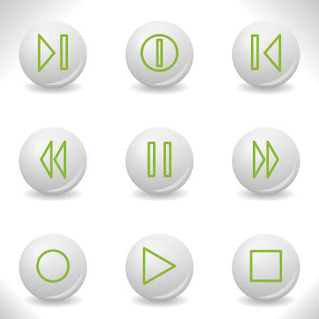 Grey balls with green icon and shadow (set 23). Stock Vector - 16875992