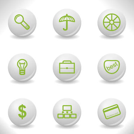 Grey balls with green icon and shadow (set 24). Vector