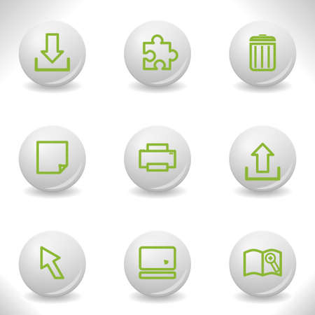 Grey balls with green icon and shadow (set 25). Stock Vector - 16876048