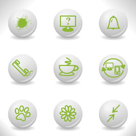 Grey balls with green icon and shadow (set 26). Stock Vector - 16876593