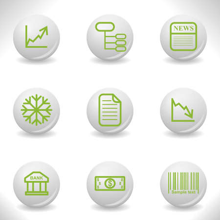 comerce: Grey balls with green icon and shadow (set 29).