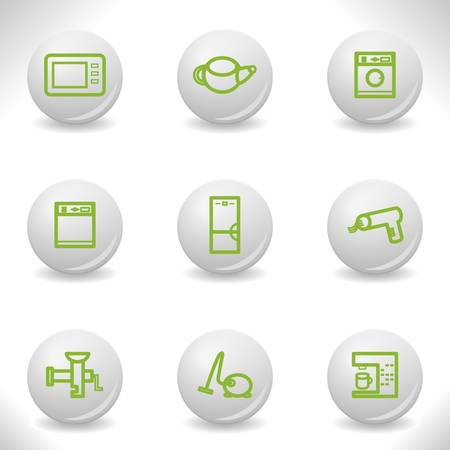 Grey balls with green icon and shadow (set 32).