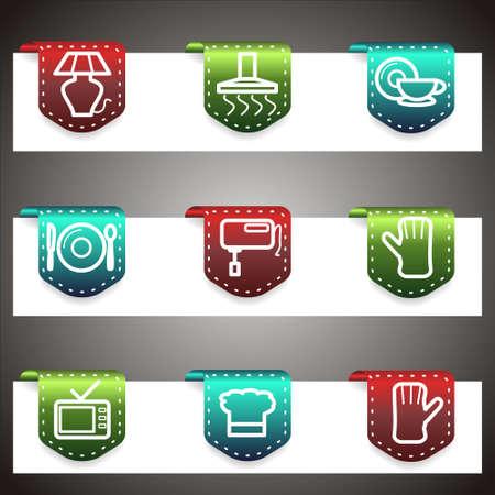 Color  icons set.  navigation template (set 33). Illustration