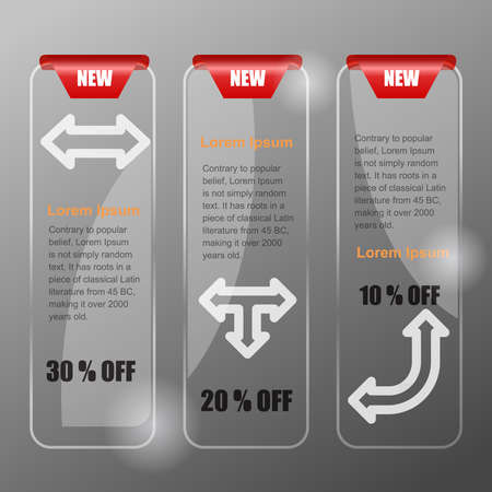 banners for web. Glass style.   Vector