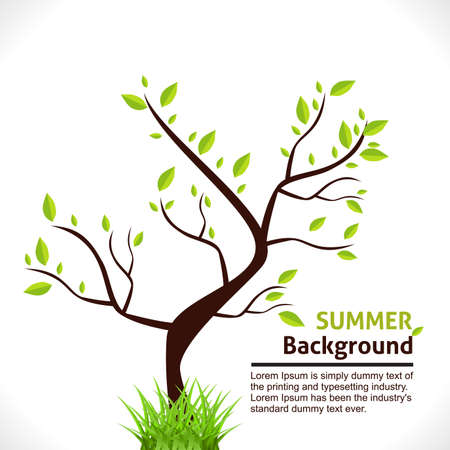 Summer Background of Tree with Green Grass.   Vector