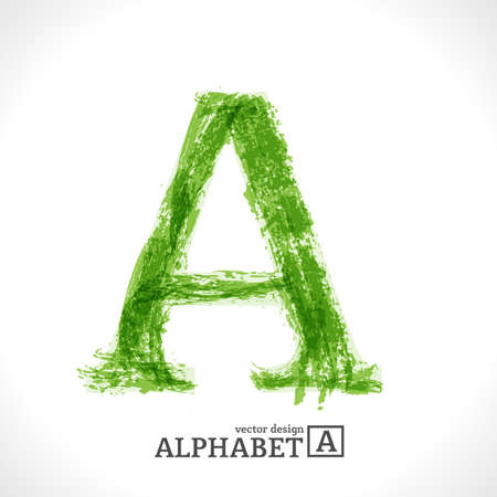 Grunge Vector Letter. Green Eco Style. Font Symbol A. Stock Vector - 16917032