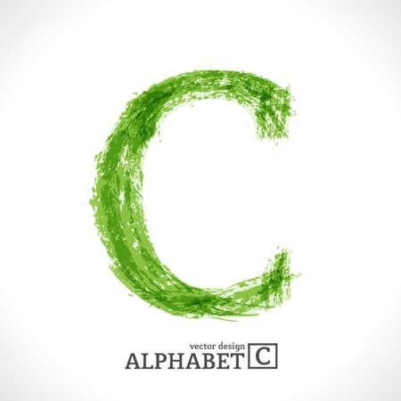 letter c: Grunge Vector Letter. Green Eco Style. Font Symbol C.
