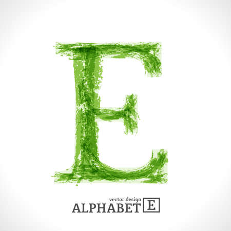 Grunge Vector Letter. Green Eco Style. Font Symbol E.