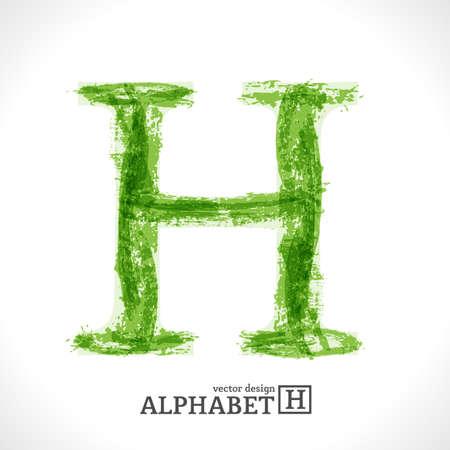 Grunge Vector Letter. Green Eco Style. Font Symbol H.