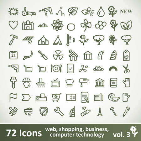 Green large Icons Set.  Clean Symbol for Your Design. Vector